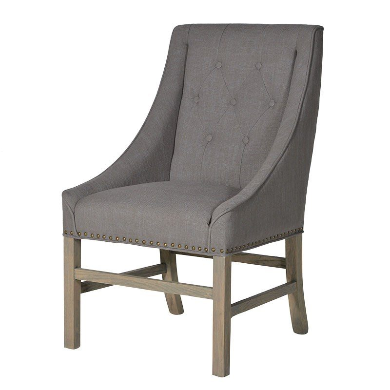 Aiden Grey Button Tufted Chair