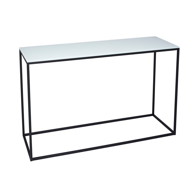 Amrique Glass Top Console Table with Black Open Frame