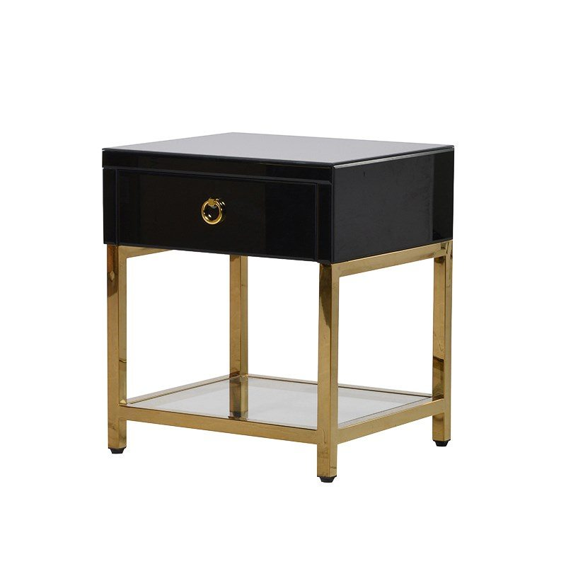 Anete Black Bedside Table