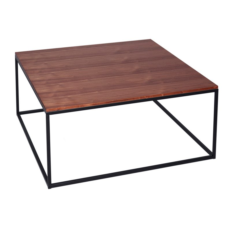 Ariana Square Wood Coffee Table with Black Open Frame