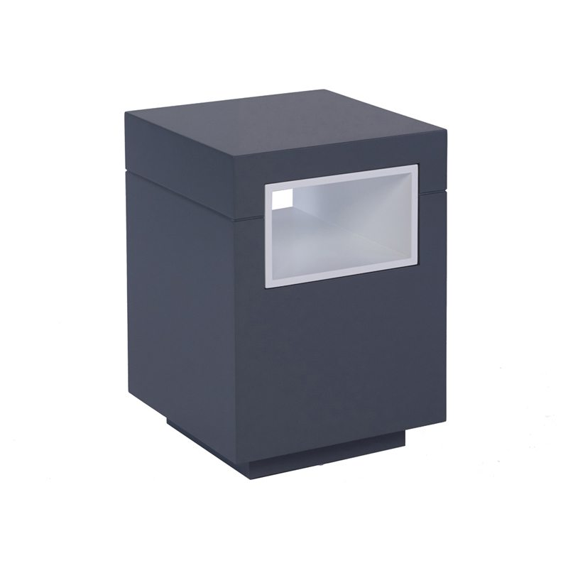 Armando Square Grey Side Table with Lacquer Finish