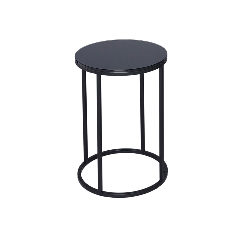 Rudolpho Black Glass Top Side Table With Black Frame Casa Uniqua