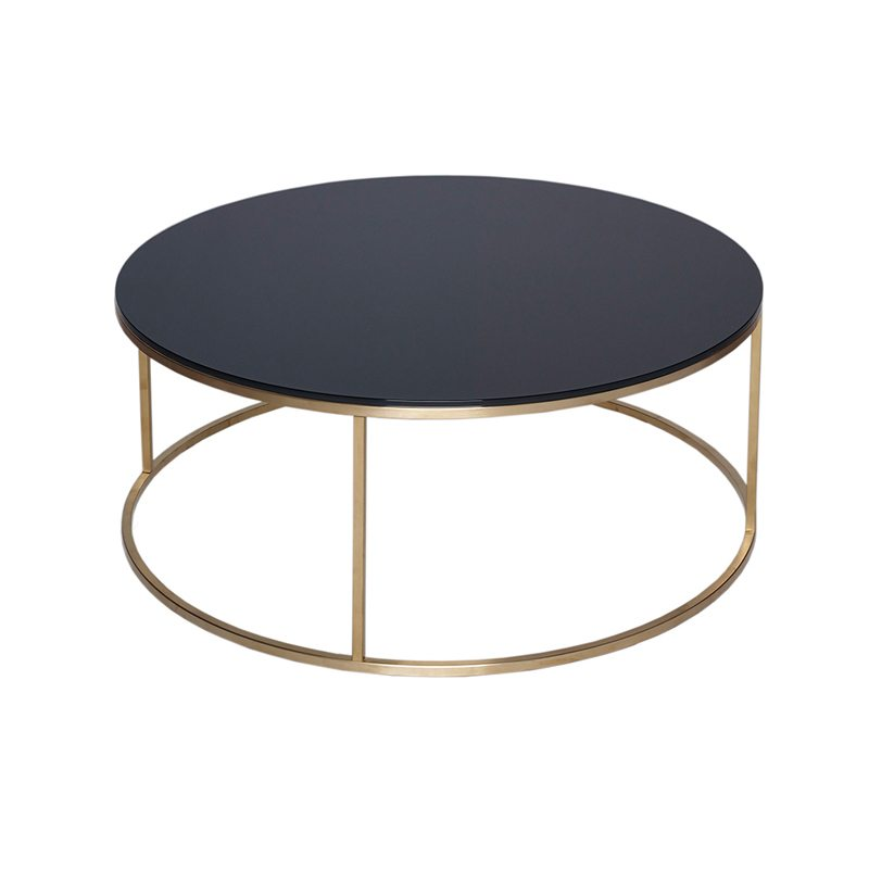 Biaggio Round Glass Coffee Table with Gold Open Base