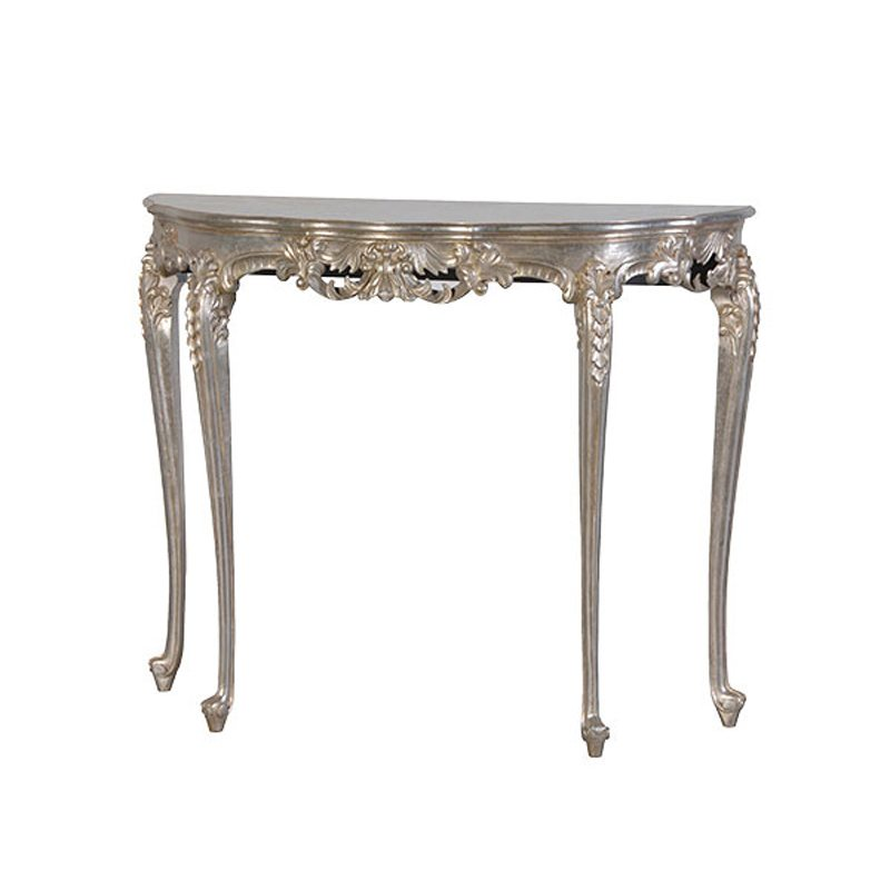 Brune Silver Leaf Slim Console Table with Cabriole Legs