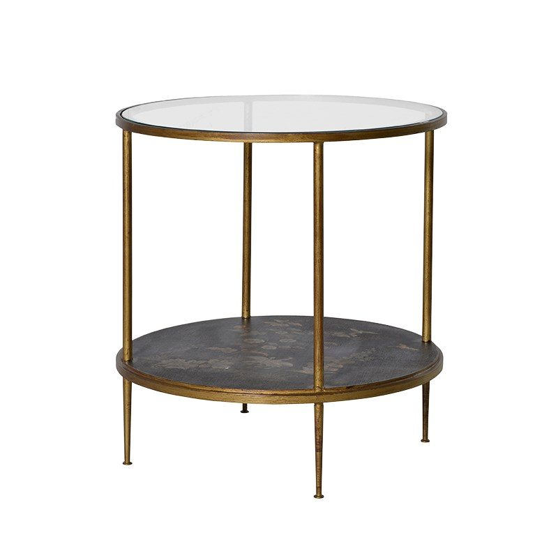 Caleb Round Glass and Bronze Side Table