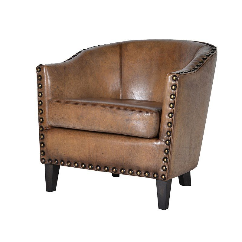 Caruso Cognac Leather Tub Chair
