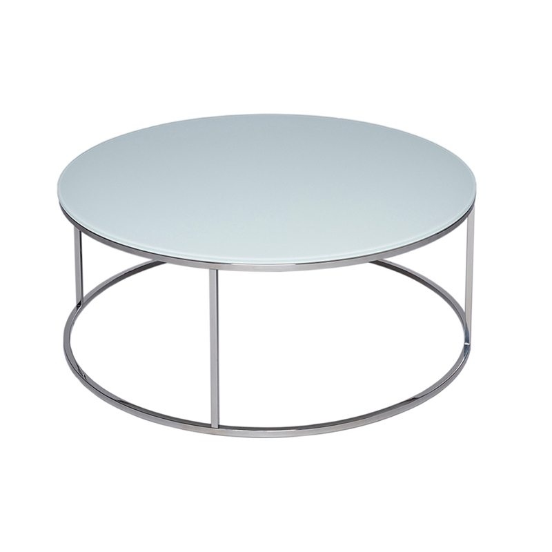 Donna Glass Round Coffee Table With, Round Silver Table