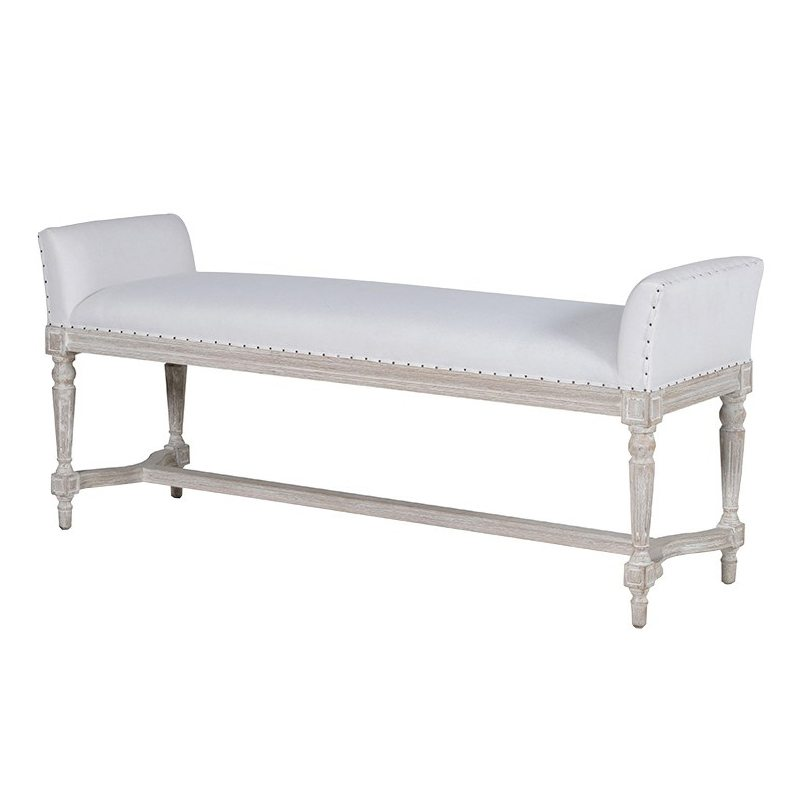 Edetta White Linen Upholstered Bench