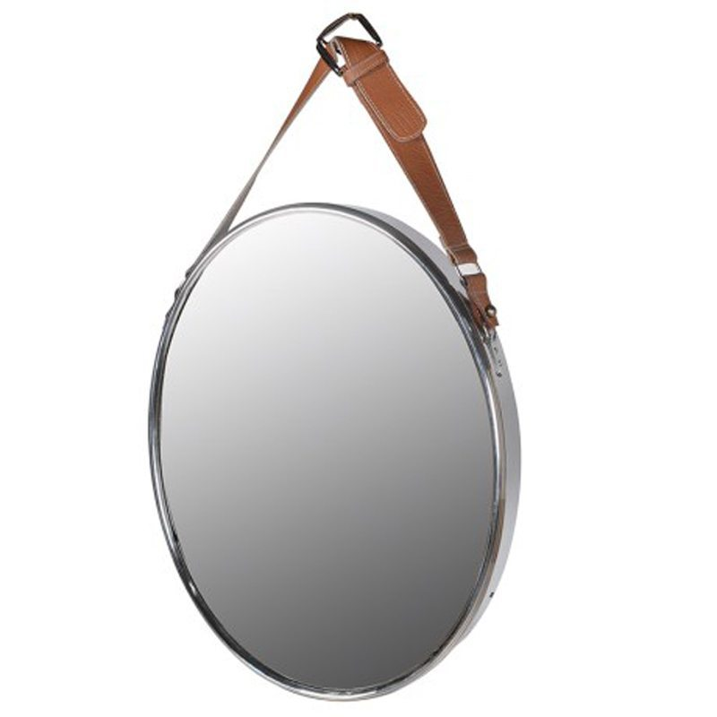 Edmondo Faux Leather Strap Oval Mirror