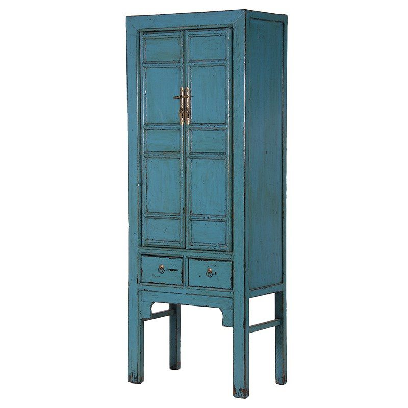 Edvige Teal Colour Slim And Tall Cabinet