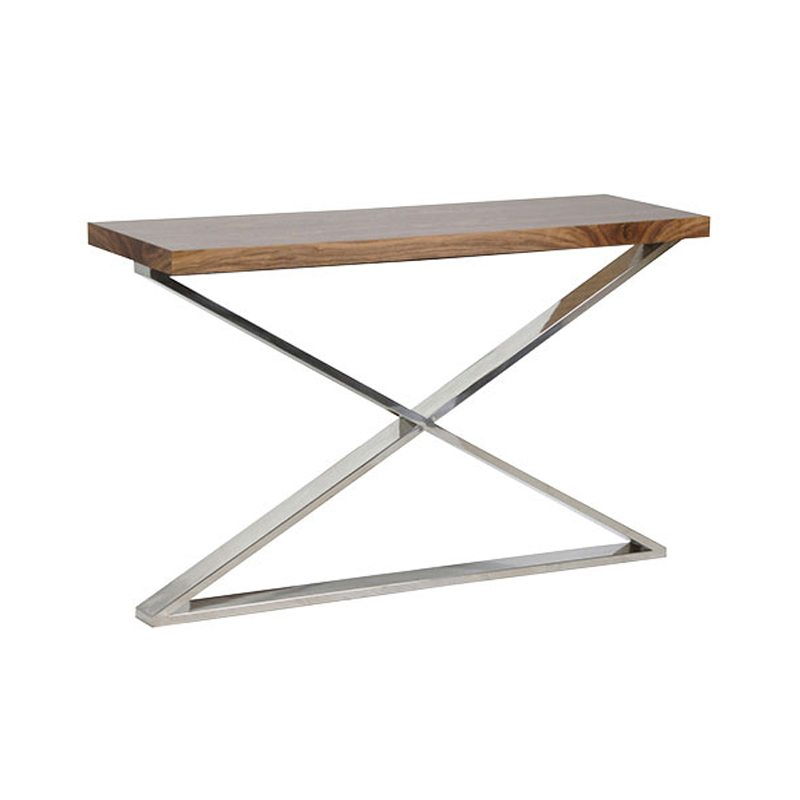 Eleanora Wood Narrow Console Table with X-frame