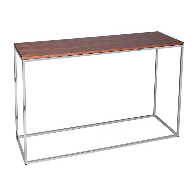 Eloisa Wood Console Table with Silver Open Frame
