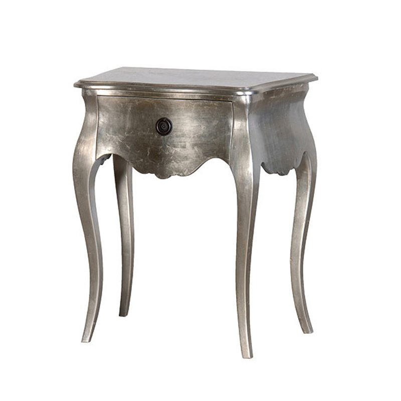 Ercole Silver Leaf Bedside Table