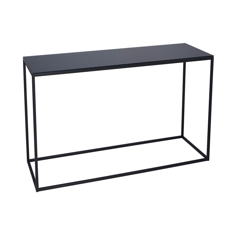 Gia Black Glass Console Table with Black Open Frame