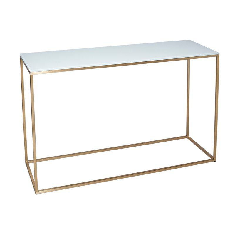 Giordana Glass White Console Table with Gold Open Frame