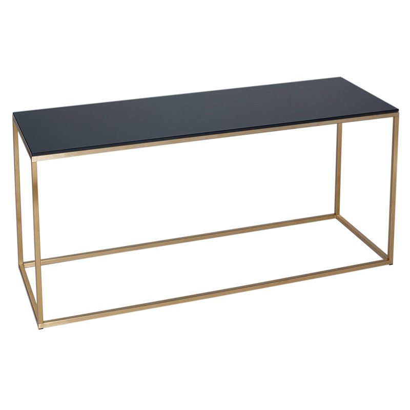 Guido Black Glass TV Stand with Gold Open Frame