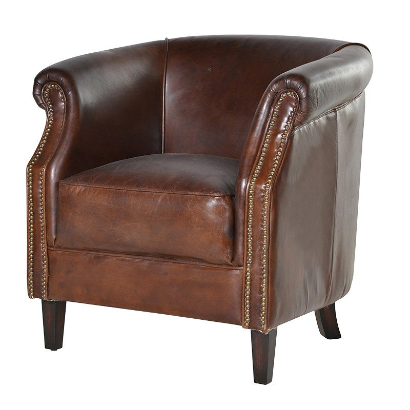 Isaia Brown Leather Armchair