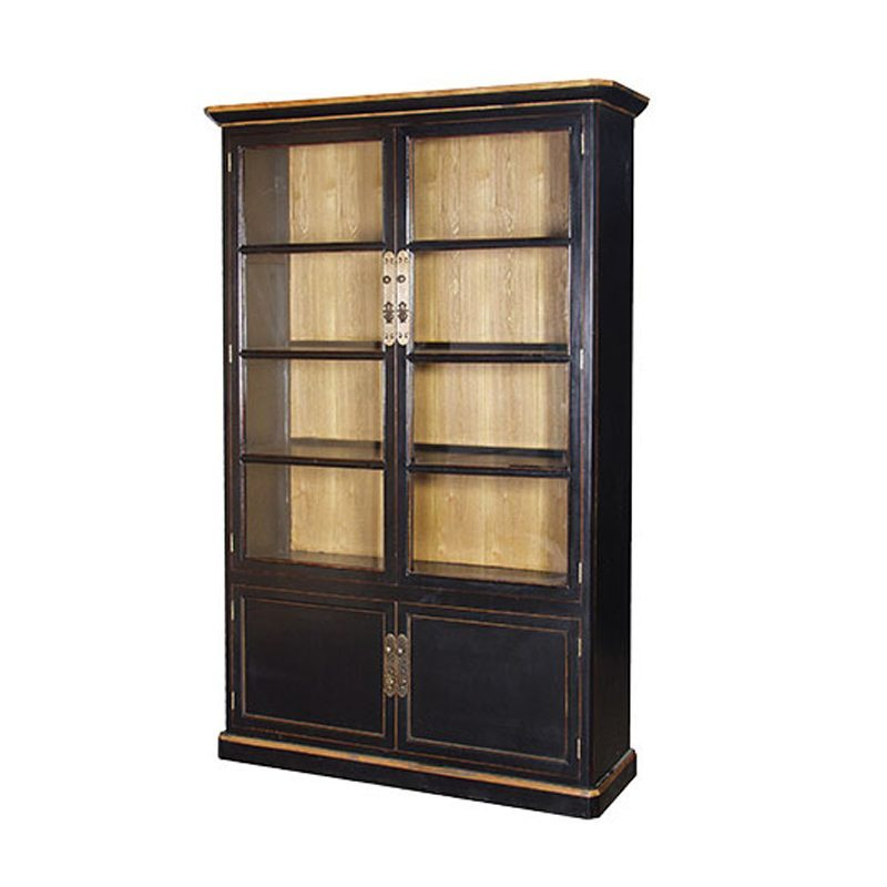 Jolie Chinese Style Black Lacquer Showcase cabinet