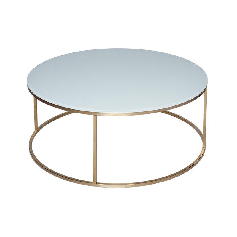 Lexique White Round Coffee Table with Gold Open Base