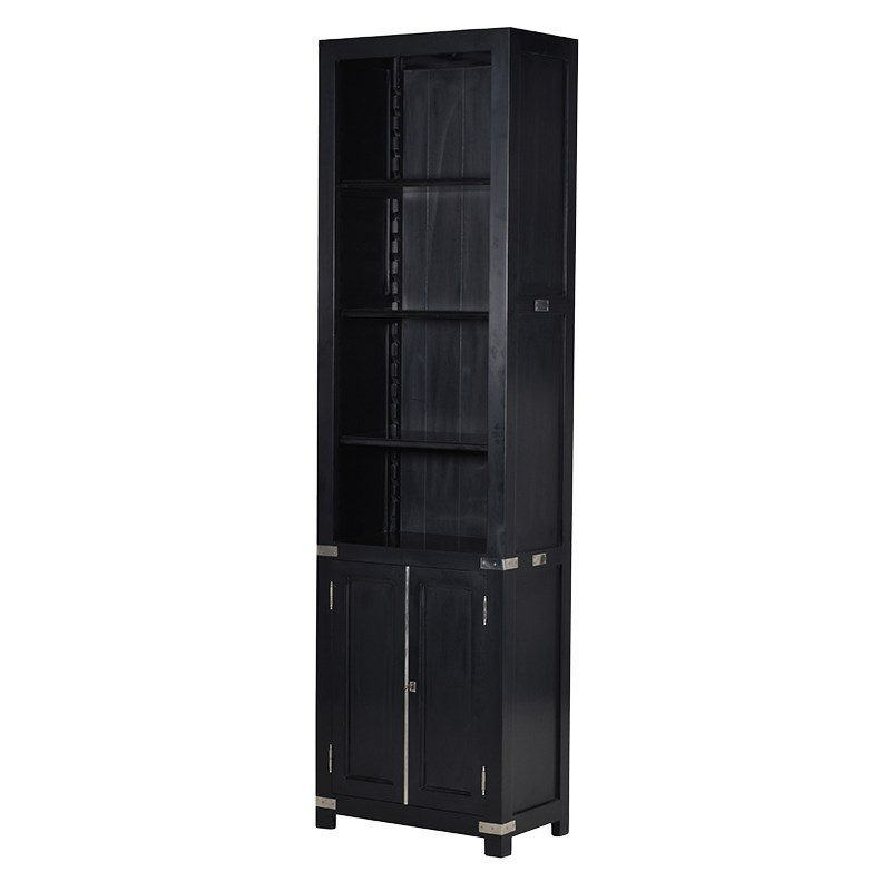 Margay Black Bookcase With A Bottom Cabinet