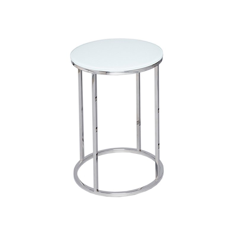Marzia White Glass Top and Chrome Side Table