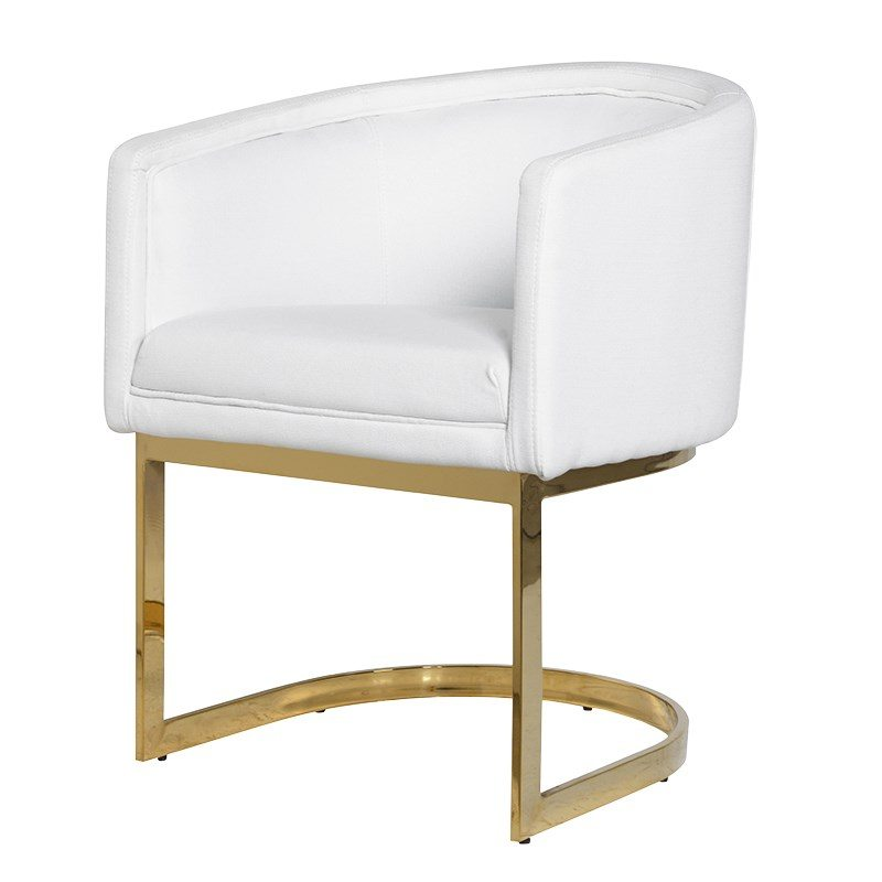 Nevaeh White Chair with Rounded Back and Golden Frame