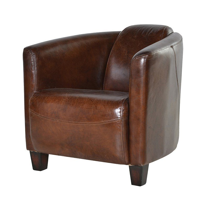 Orazio Brown High Back Leather Armchair