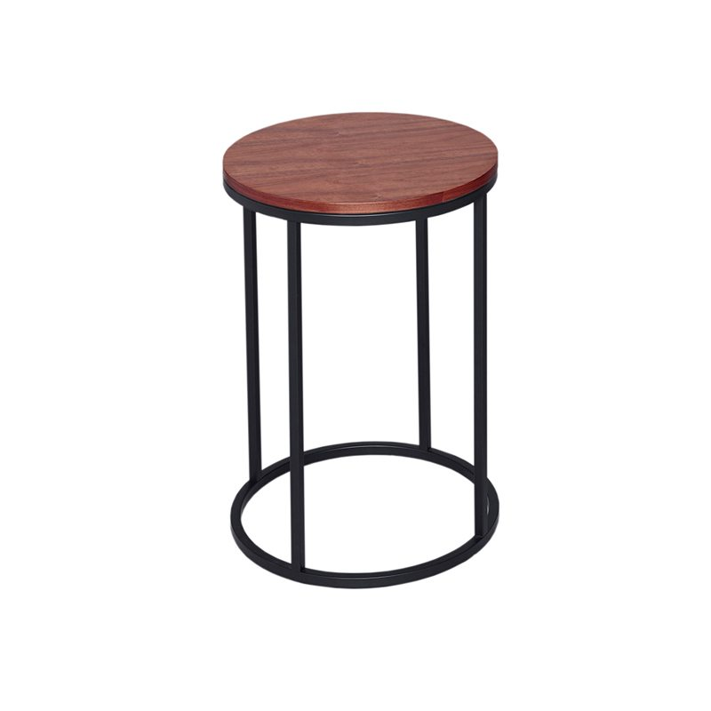 Paola Wood Top Side Table with Black Open Frame