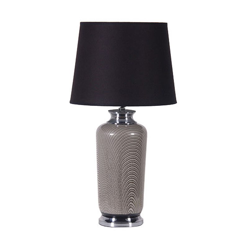 Raimonda Black Table Lamp with Patterned Grey Base