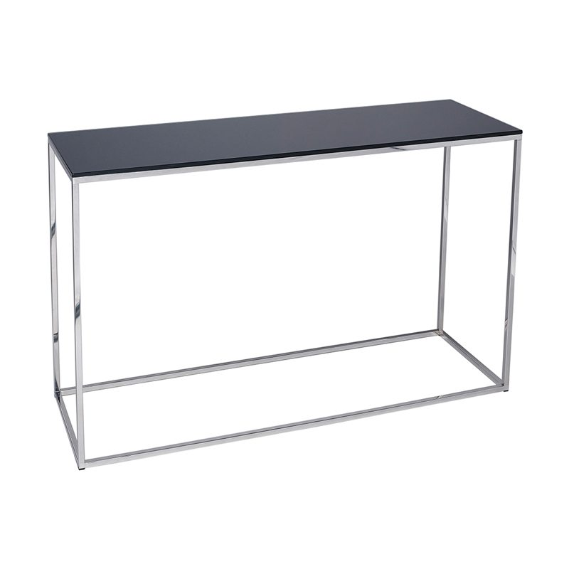 Rina Glass Black Console Table with Silver Open Frame