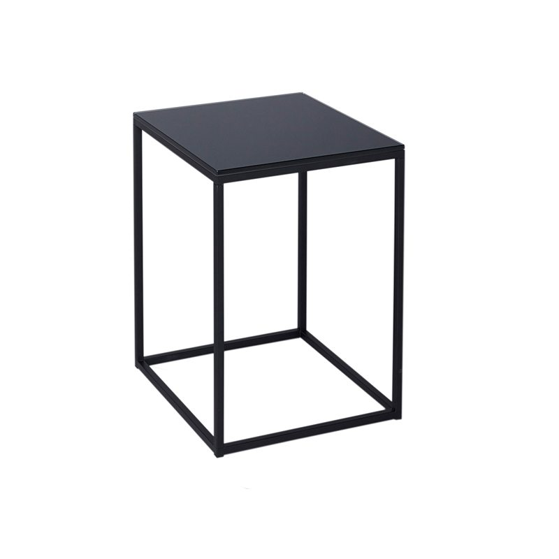 Rudolpho Black Glass Top Side Table with Black Open Frame