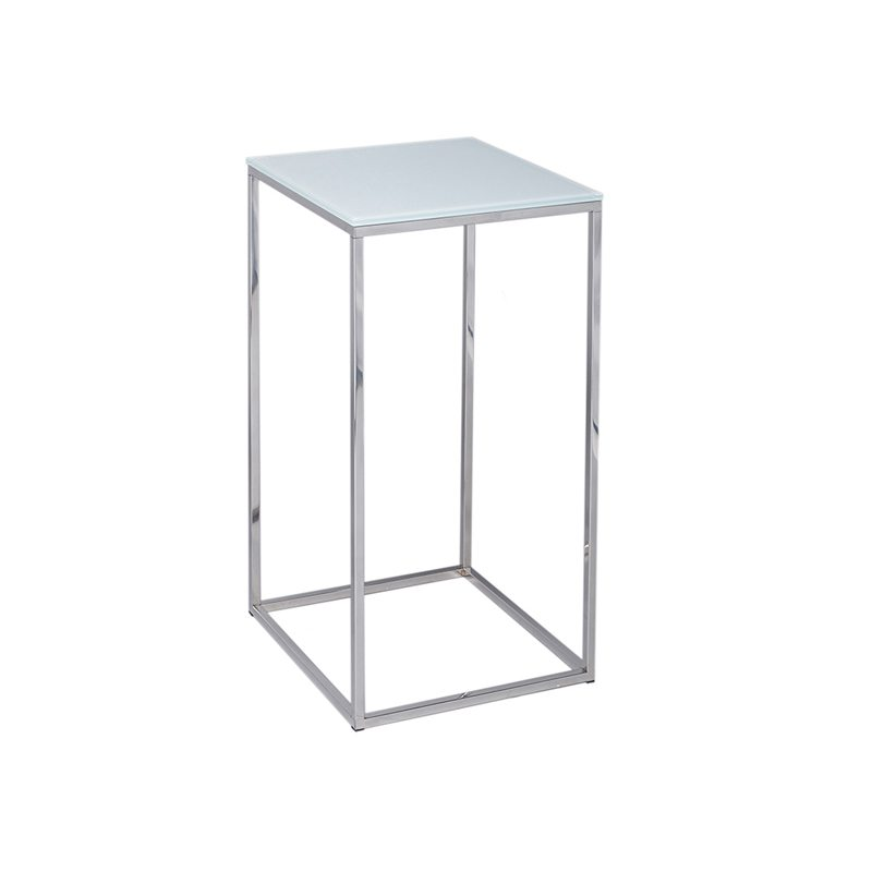 Salvatorio Square Side Table with Silver Open Metal Frame