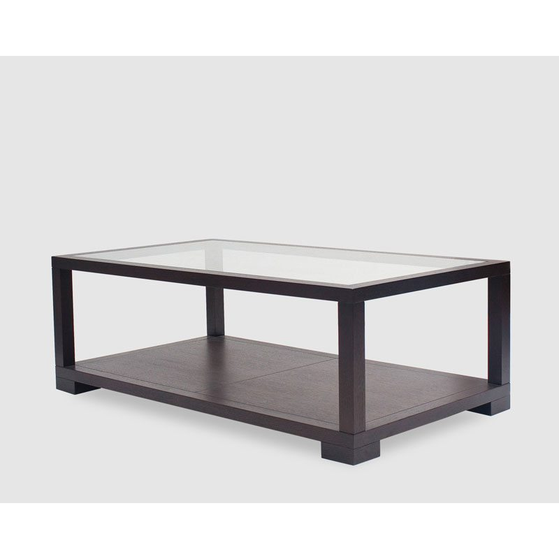 Satin Glass Wood Coffee Table