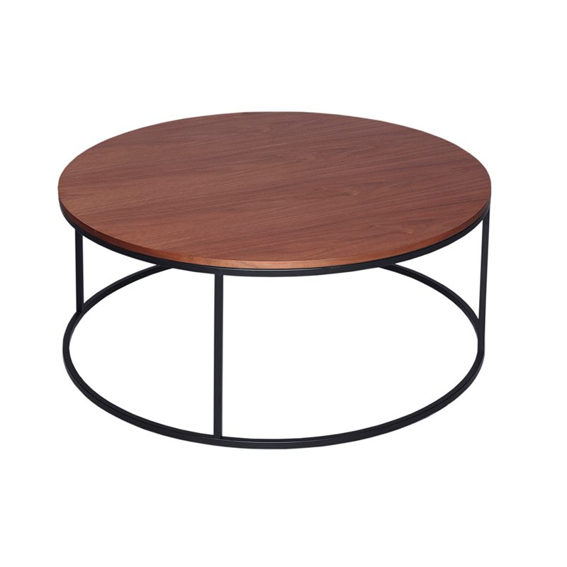 Uberto Round Wood Coffee Table with Black Open Base