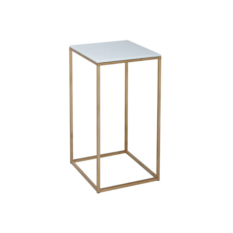 Bont White Square Gold Frame Side Table