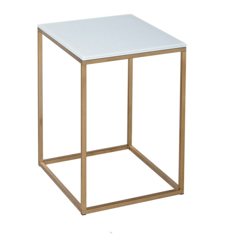 Damiano White and Gold Side Table