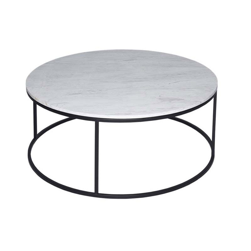 Round Marble Coffee Table Black Frame