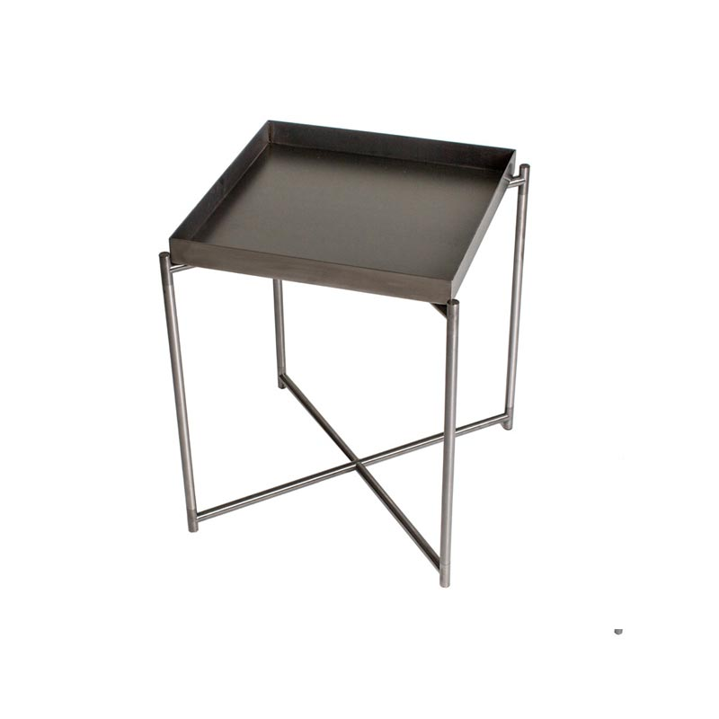 Side Table with Gunmetal Tray