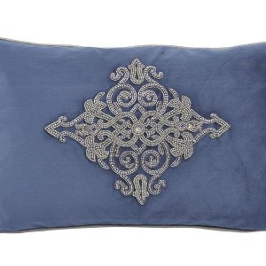 Oratio Blue Velvet Cushion with Beadwork