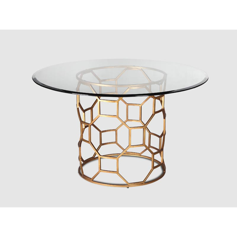 Gold Dining Tables ~ Brompton glass dining table gold finish casa uniqua