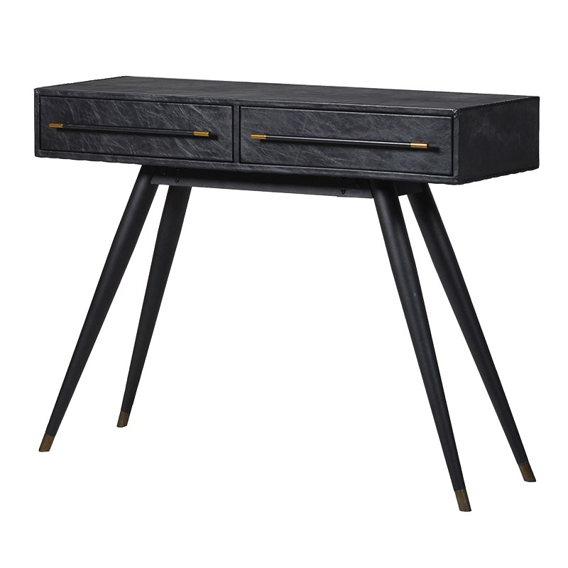 black leather console table