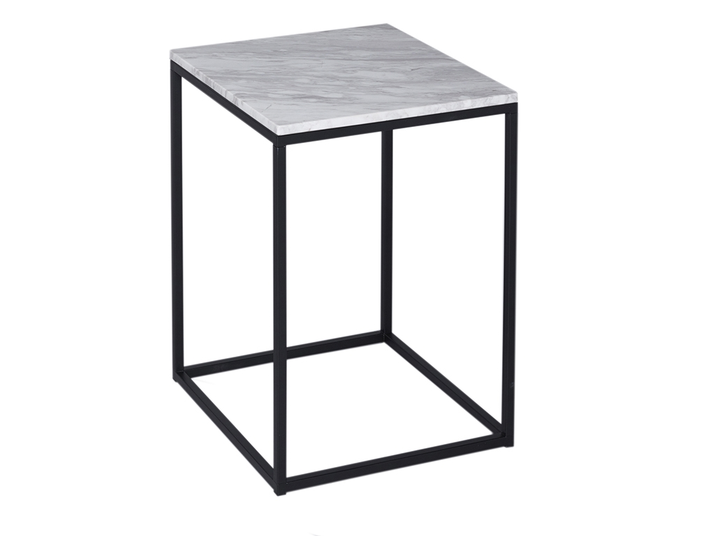 Kaylee White Marble Side Table Black Frame