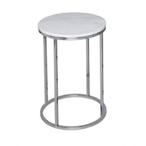 Philipe Round Marble Side Table Polished Steel Frame