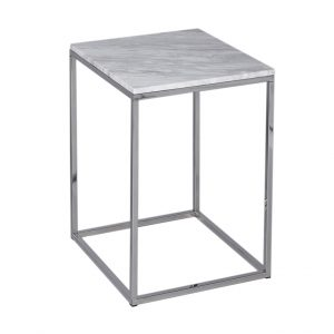 Romeo White Marble Side Table Polished Steel Frame