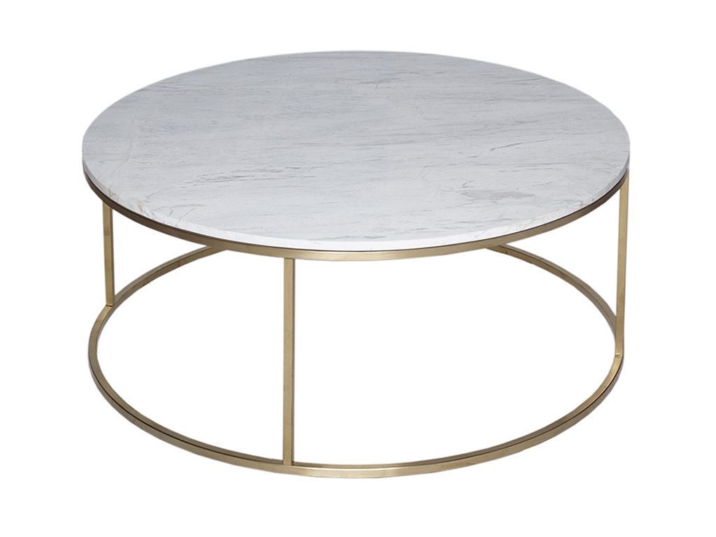 Rosa round marble coffee table brass frame