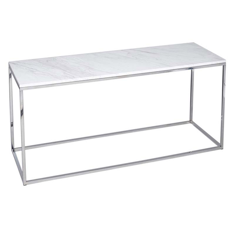 White Marble Console Table Chrome Frame