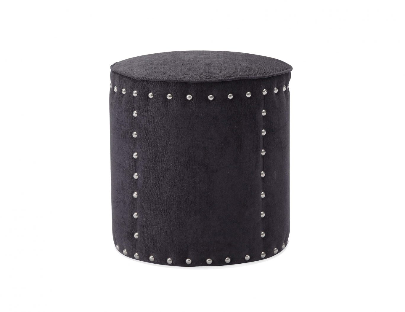 Pax Linen Effect Slate Grey Upholstered Studded Stool
