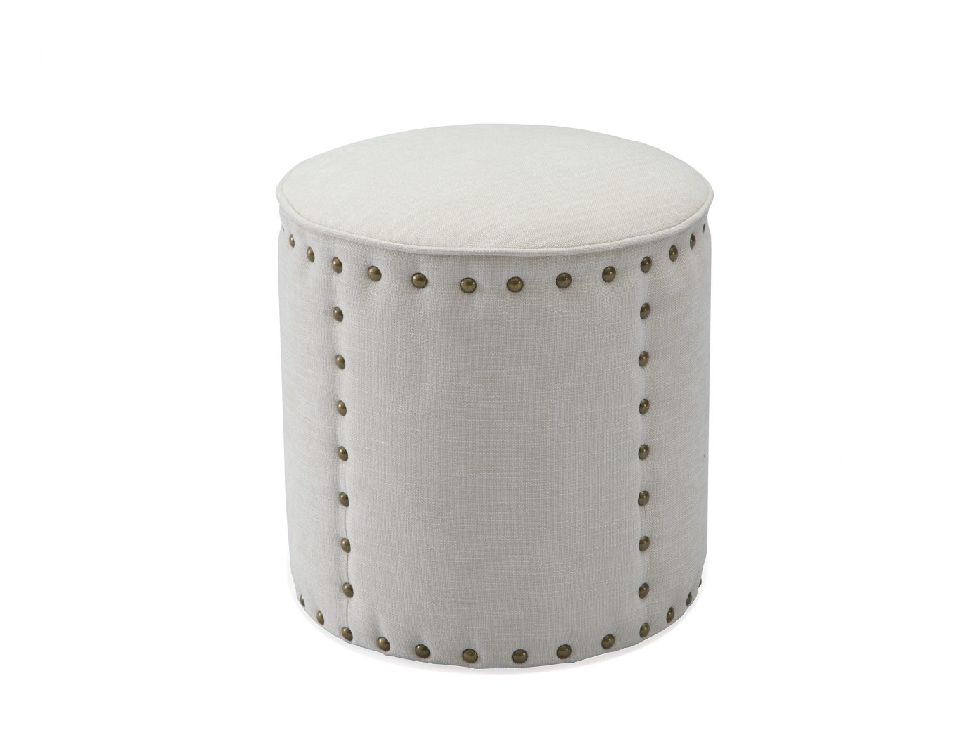 Pax Beige Linen Effect Upholstered Studded Stool