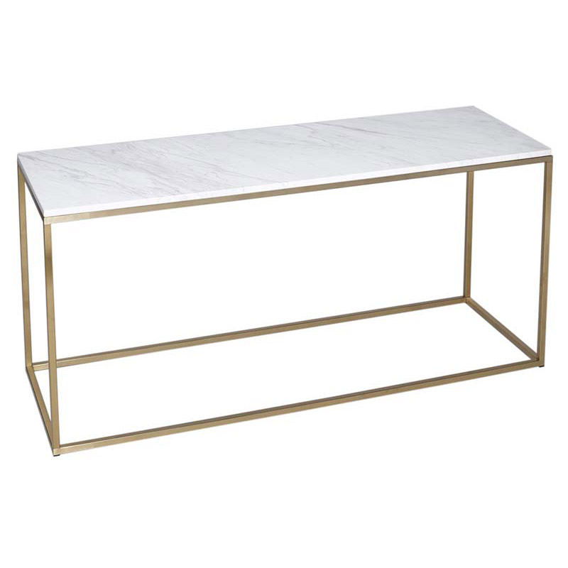 White Marble Console Brass Frame