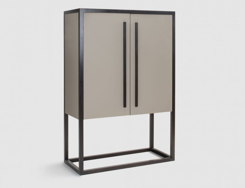 Dimitris Taupe Faux Leather Cabinet